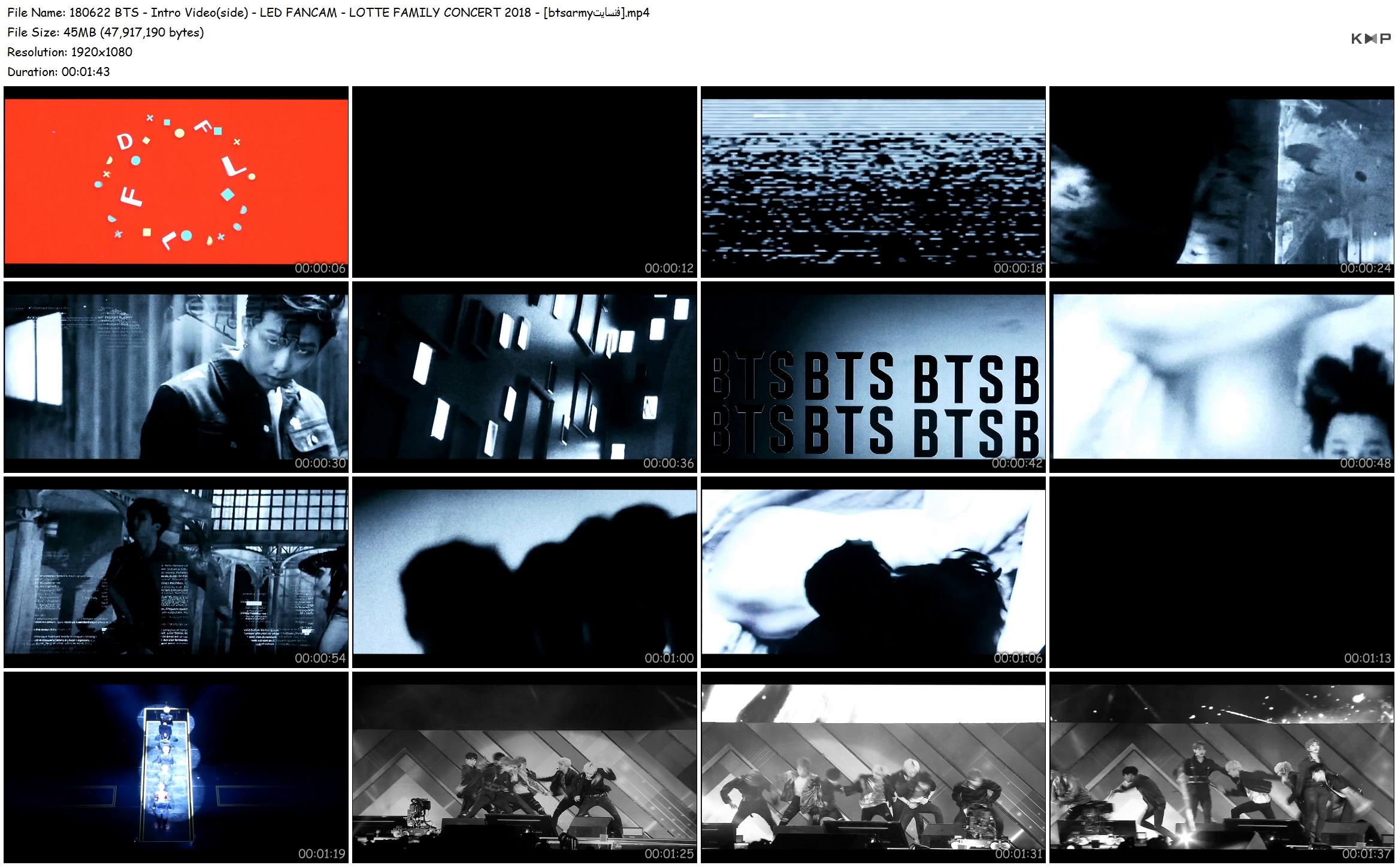 unj1 180622 bts   intro video(side)   led fancam   lotte family concert 2018   [btsarmy%D9%81%D9%86%D8%B3%D8%A7%DB%8C%D8%AA] - [Video/Fancam] BTS at The 27th Lotte Family Concert [180622]